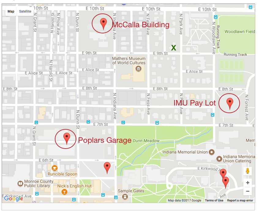 Map showing visitor parking options near the CEWiT office